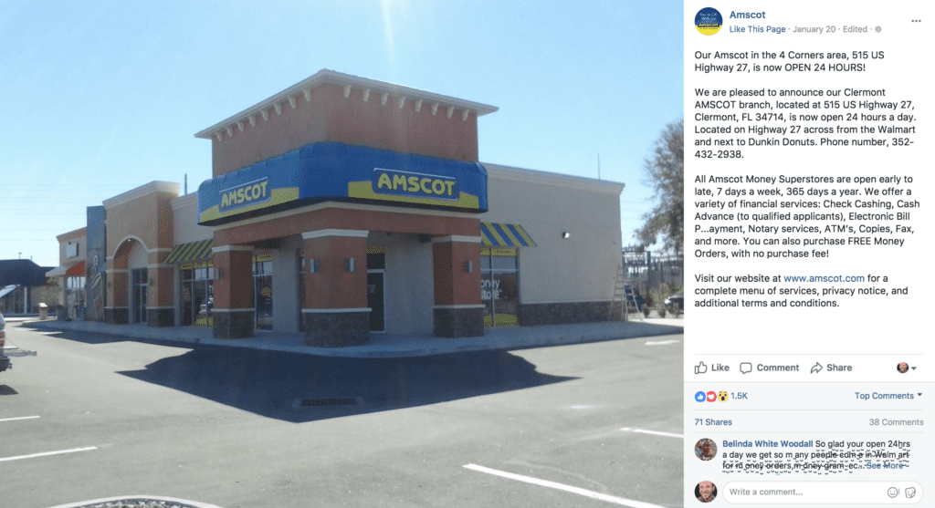 Social Media Post for Amscot