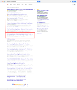 Top rank result for recording studio doing SEO.